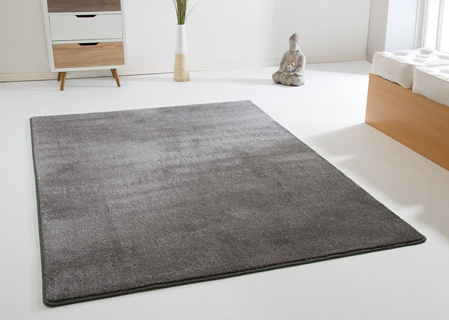 Modern Oxford Living Room Rug Hard Wearing Durable Quality Rug In Granite Size 65x130 Cm 2 2 X4 3 Amazon Co Uk Kitchen Home