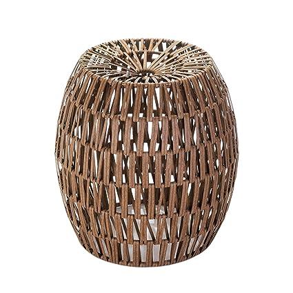 Amazon Com Modern Garden Stool Woven Accent Table Bronze Side