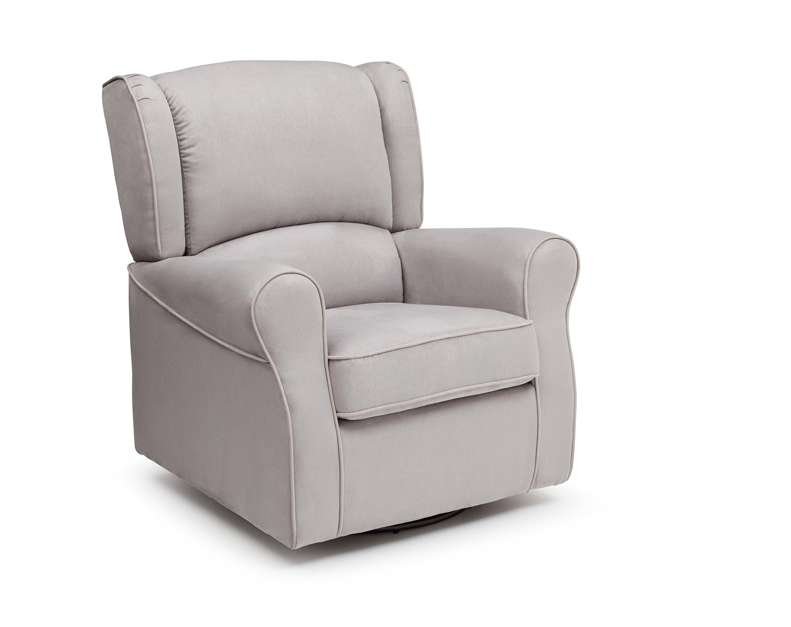 Delta Furniture Morgan Upholstered Glider Swivel Rocker Chair, Dove Grey