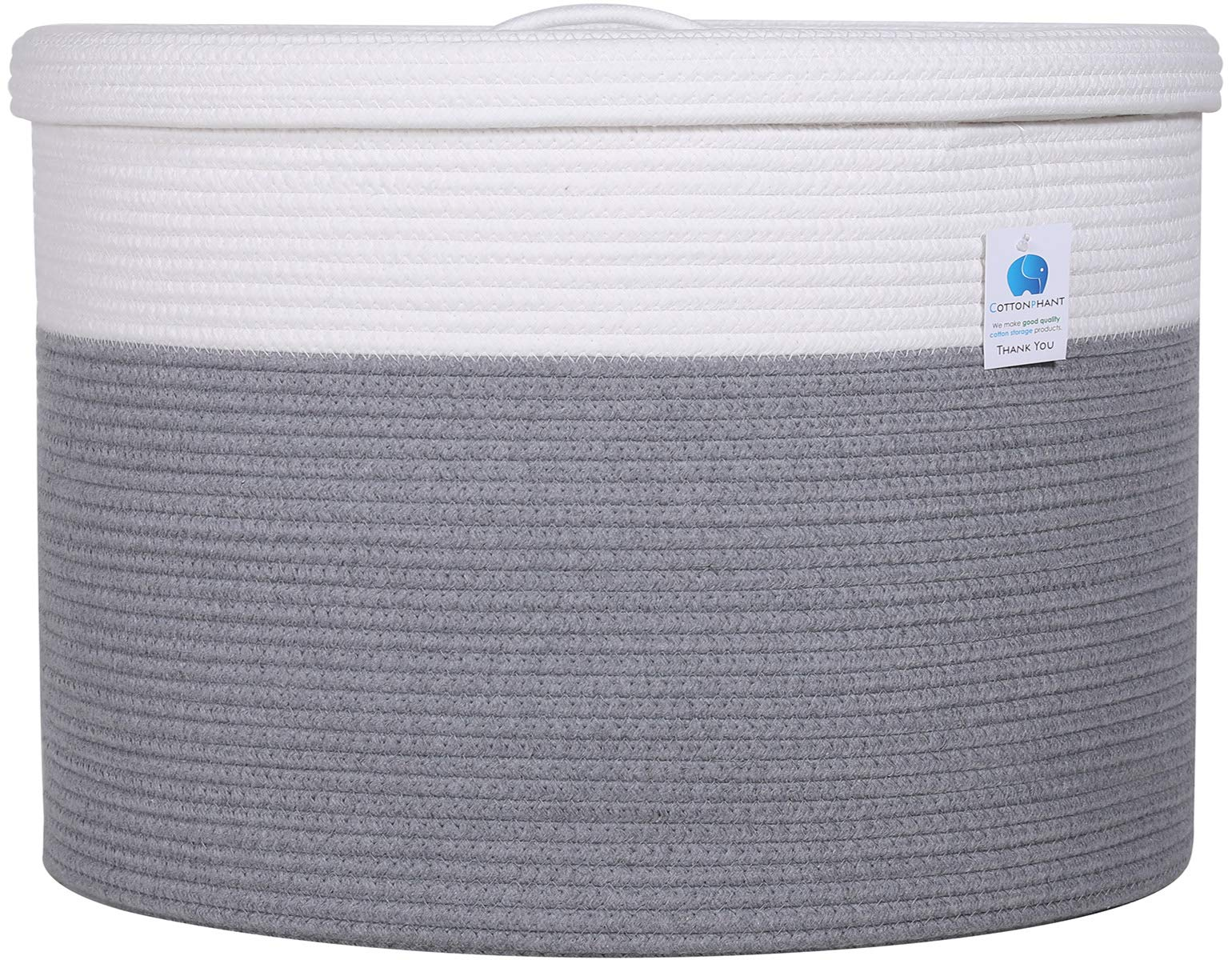20'' x 20'' x 15'' Extra Large Storage Basket with Lid, Cotton Rope Storage Baskets, Laundry Hamper, Toy Bin, for Toys Blankets Pillows Storage in Living Room Baby Nursery, Large Basket Grey with Cover by Cottonphant