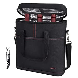 Kato 3 Bottle Insulated Wine Carrier - Travel Padded Wine Cooler Tote Bag with Handle and Shoulder Strap + Free Corkscrew, Great Wine Lover Gift, Black