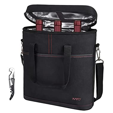 Tirrinia Insulated Wine Carrier - 3 Bottle Travel Padded Wine Carry Cooler Tote Bag with Handle and Adjustable Shoulder Strap + Free Corkscrew, Black