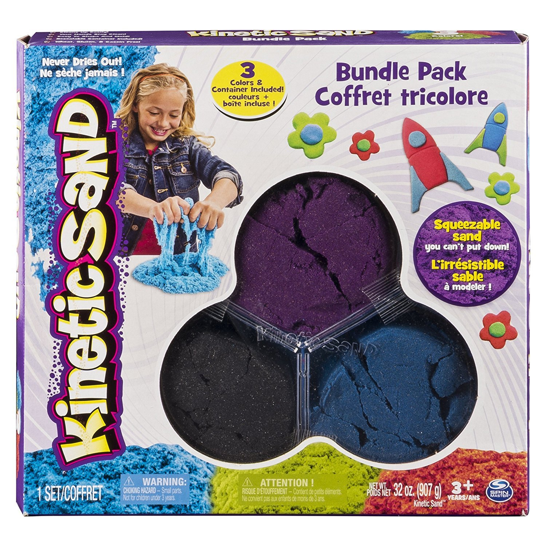 Kinetic Sand 3 Color Bundle Pack (Black, Blue, Purple)