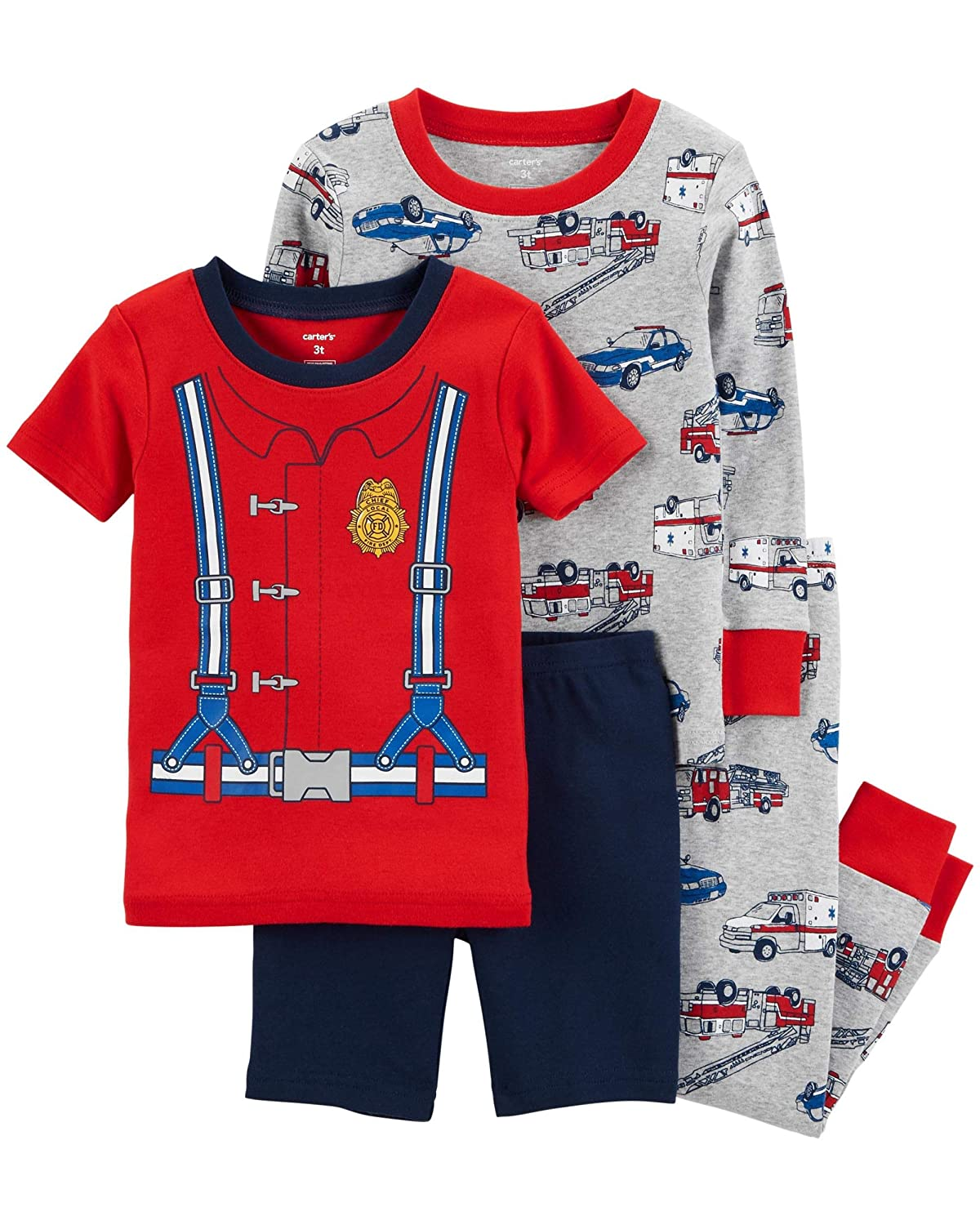 Carter's Toddler Boys 4 Pc Pajama PJs Sleep Play Sleep Snug fit Cotton Firefighter Hero 10