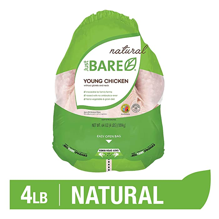 Just BARE Natural Fresh Whole Chicken | Antibiotic Free | Bone-In | Without Giblets & Neck | 4.0 LB