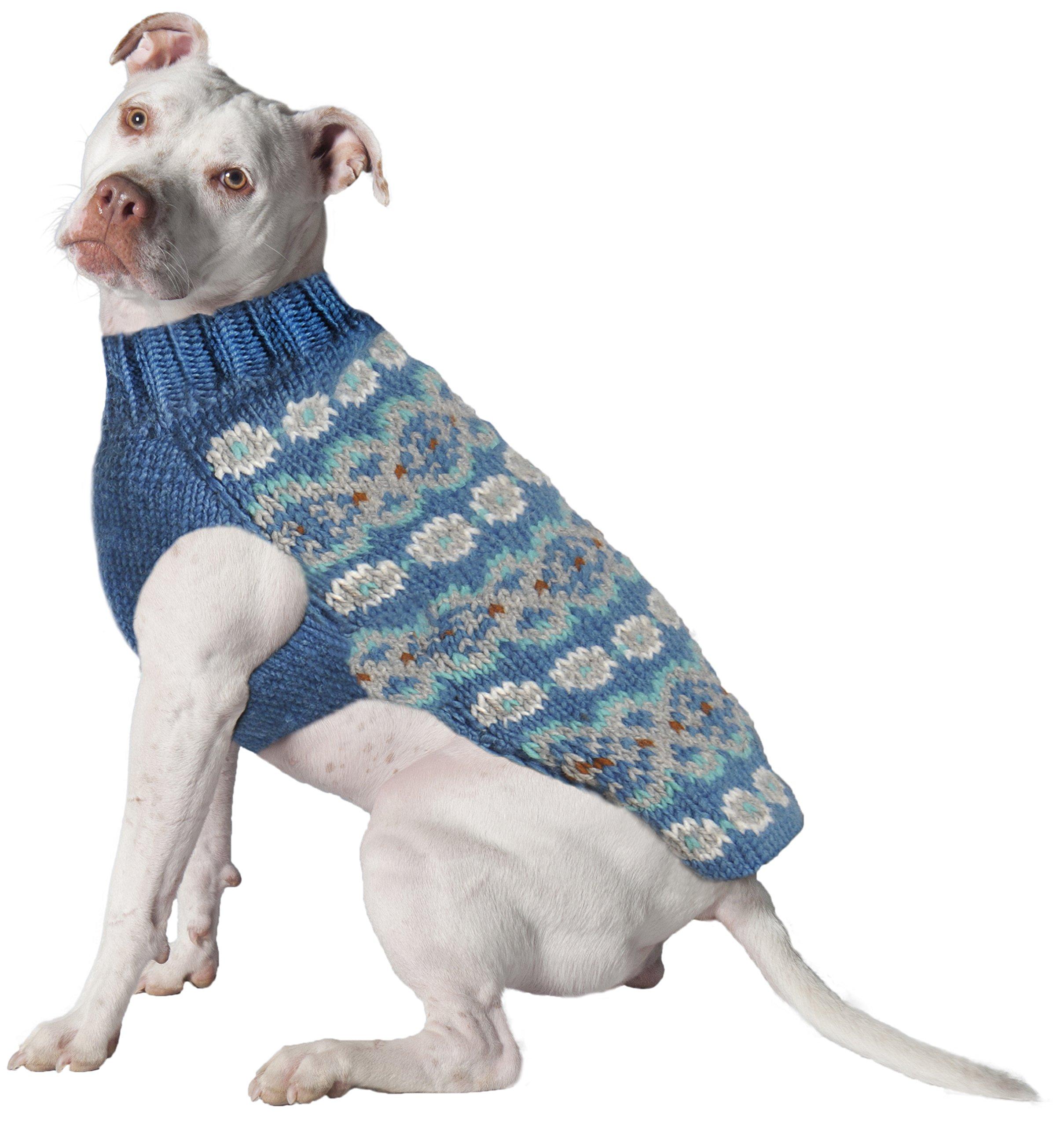 Chilly Dog Teal Fair Isle Alpaca Sweater, Small
