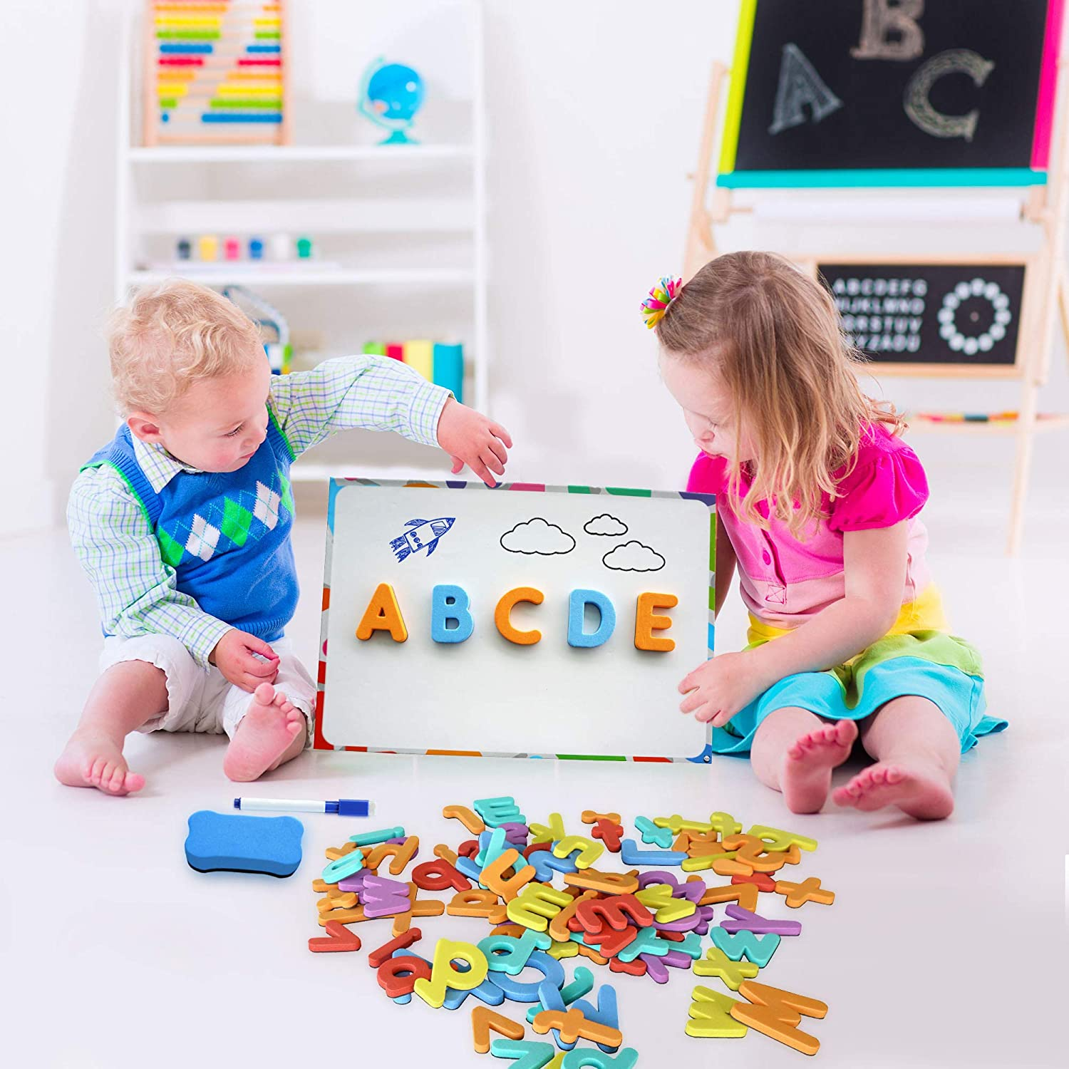 Includes 2 Storage Boxes Board Magnetic Letters and Numbers for Toddlers Thick Foam Fridge Magnets for Kids The Complete Set: 182 Letters and 81 Numbers /& Symbols Pens and Eraser
