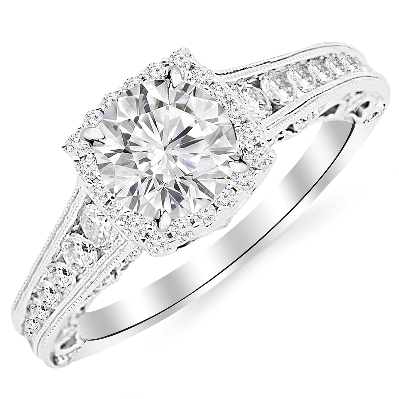 1b2ed6cc74a78 1.5 Carat 14K White Gold Vintage Halo Style Channel Set Round Brilliant  Diamond Engagement Ring Milgrain with a 0.75 Carat Moissanite Center