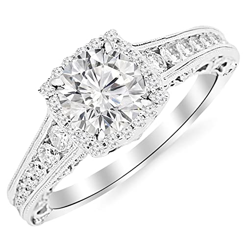 17acee03f64e2 2.25 Carat 14K White Gold Vintage Halo Style Channel Set Round Brilliant  Diamond Engagement Ring Milgrain with a 1.5 Carat Moissanite Center