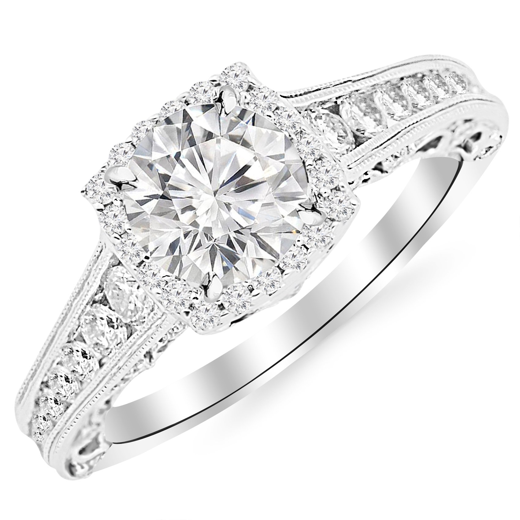 2.25 Carat 14K White Gold Vintage Halo Style Channel Set Round Brilliant Diamond Engagement Ring Milgrain with a 1.5 Carat Moissanite Center
