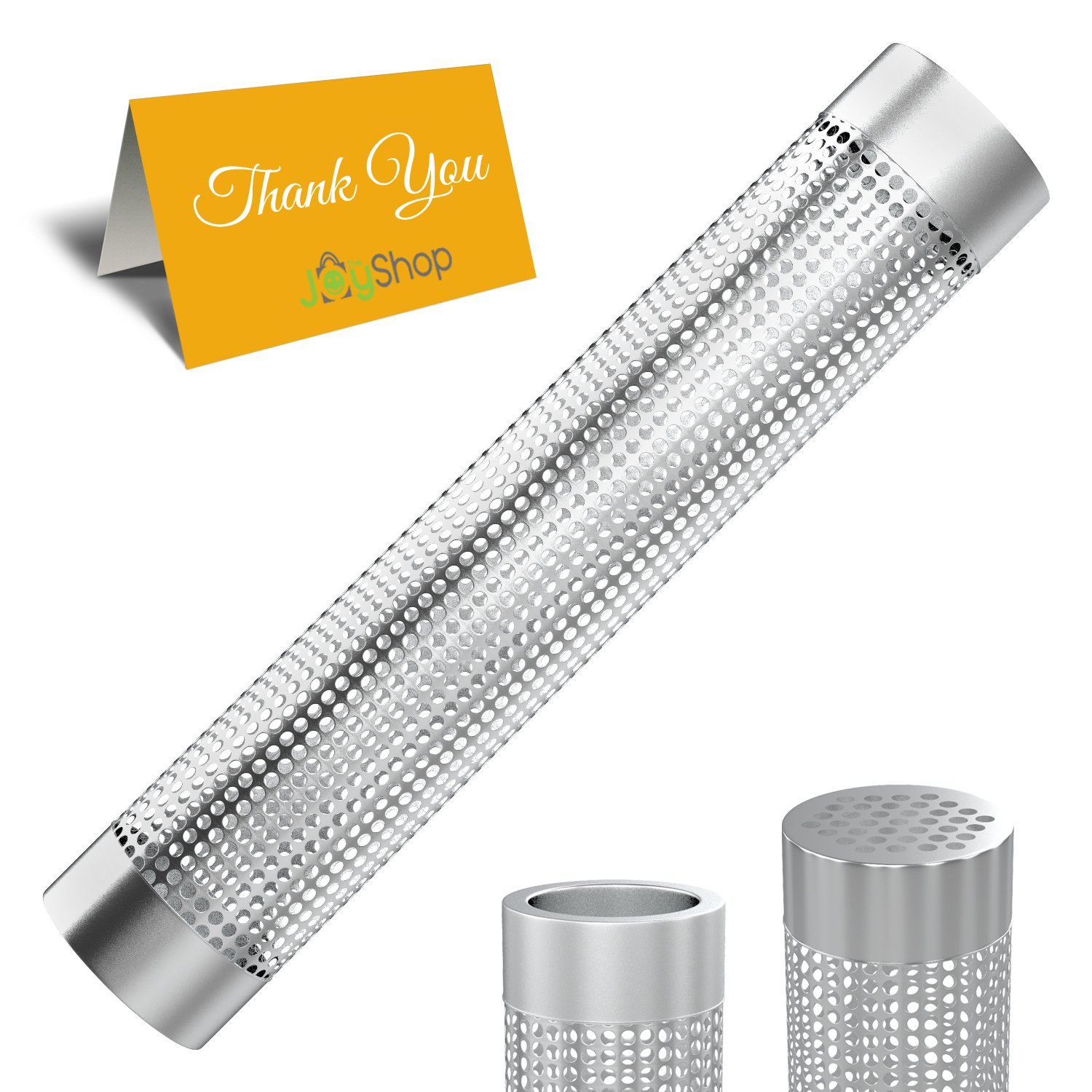 The Joy Shop Pellet Smoker Tube Grill (12 inch) – Stainless Steel Smoker Tube - 5 Hours Billowing Smoke – Suitable Any Smoker - Hot Cold Smoking - Easy, Safe Tasty Smoking – Comes 2 Skewers