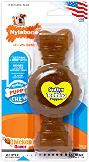 product image for Nylabone Puppy Chew Gentle Chewing Just For Puppies Wolf Chicken Flavored Puppy Dog Ring Bone Teething Chew Toy