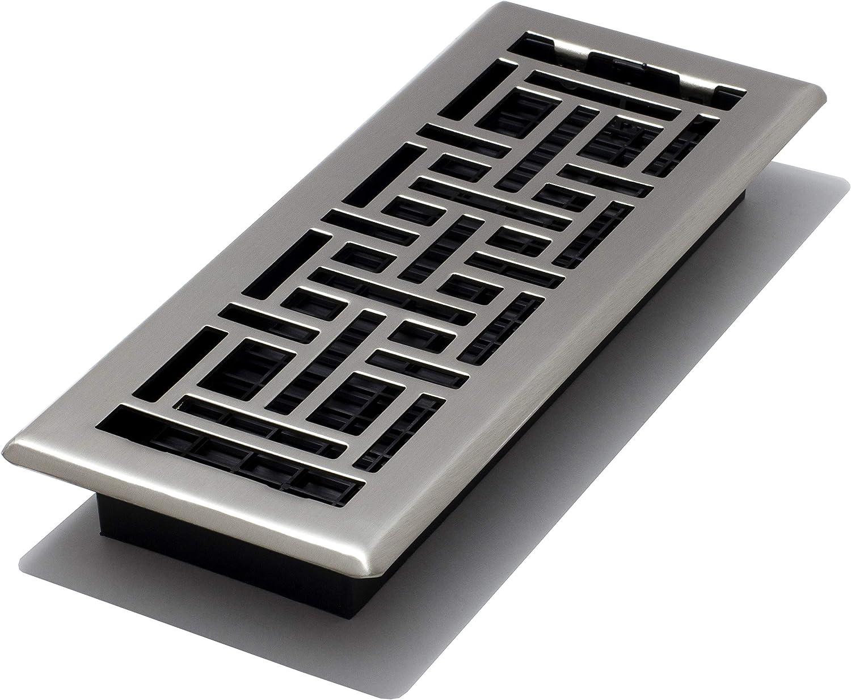 Decor Grates AJH412-NKL Floor Register, 4 x 12, Nickel