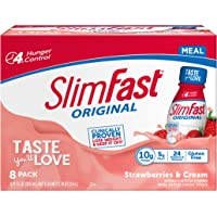SlimFast Original Strawberries & Cream Shake – Ready to Drink Weight Loss Meal Replacement – 10g Protein – 11 Fl. Oz…