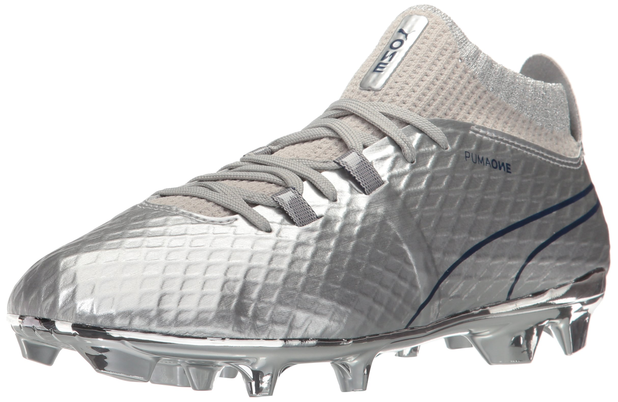 PUMA Unisex-Kids One Chrome FG Jr Soccer-Shoes, Silver/Blue Depths, 3 M US Little Kid by PUMA
