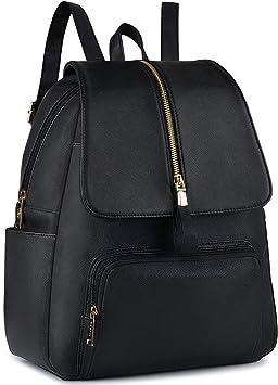 COOFIT Mochilas mujer Bolso mochila mujer casual Mochilas escolares juveniles Mochila vintage negra Mochila piel PU mujer 32x17x38 cm (negra)