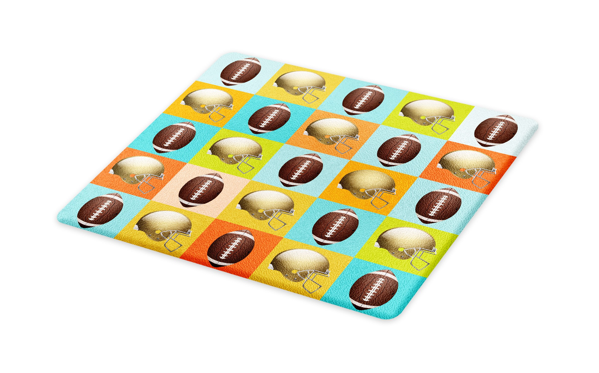 Lunarable Football Cutting Board, Colorful Squares Mosaic Pattern of Protective Equipment and Balls College Activity, Decorative Tempered Glass Cutting and Serving Board, Small Size, Multicolor