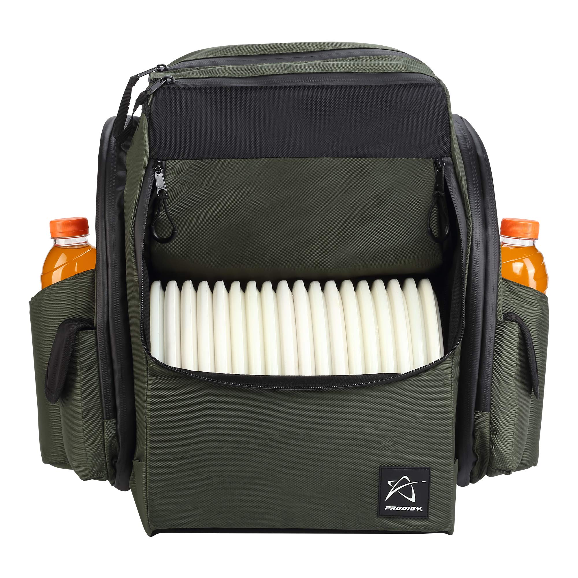 Prodigy Disc BP-1 V2 Disc Golf Backpack Bag - Fits 30+ Discs - Pro Quality (Green/Black, Rainfly) by Prodigy Disc