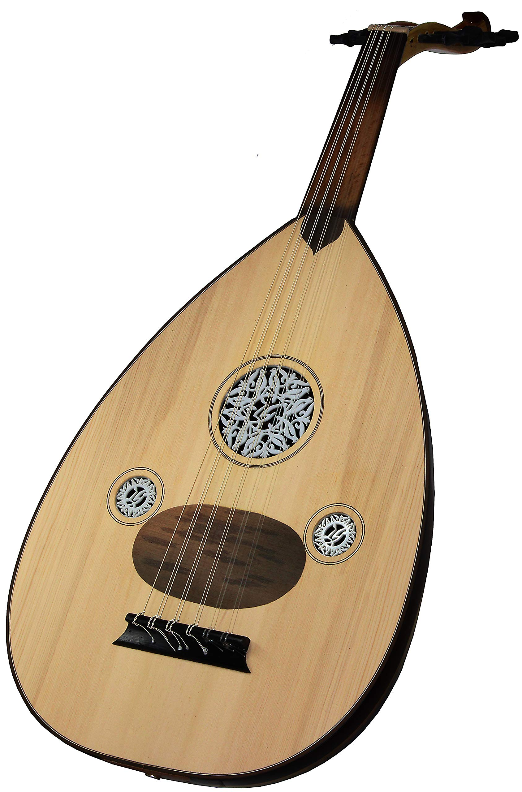 Skywin OUD Wood Musical Instrument - Hand Crafted Turkish Arabic OUD Instrument with Soft Case, 11 Turkish Strings, Picks, and 8' Instrument Cable