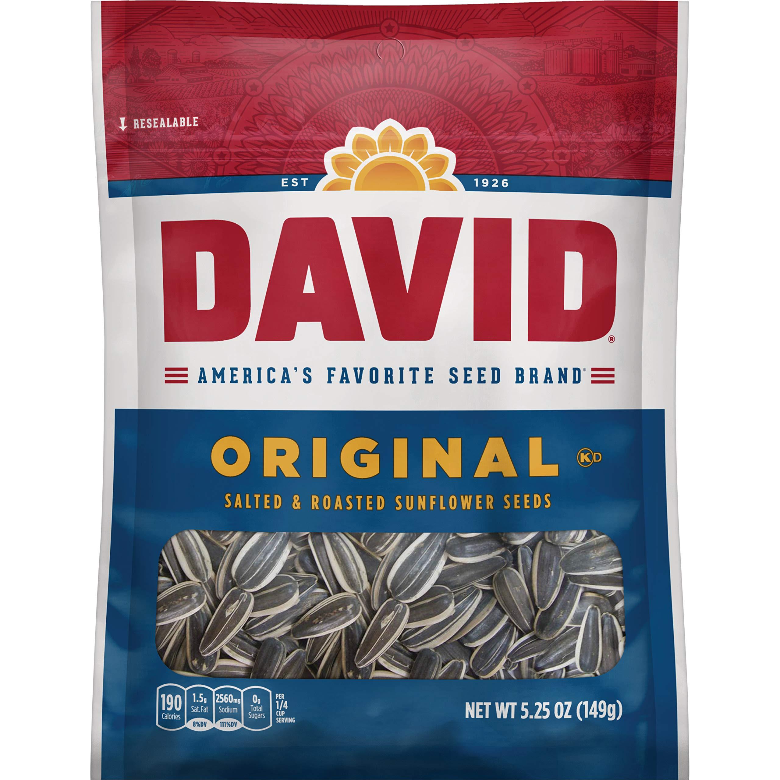 DAVID Roasted and Salted Original Sunflower Seeds, 5.25 oz