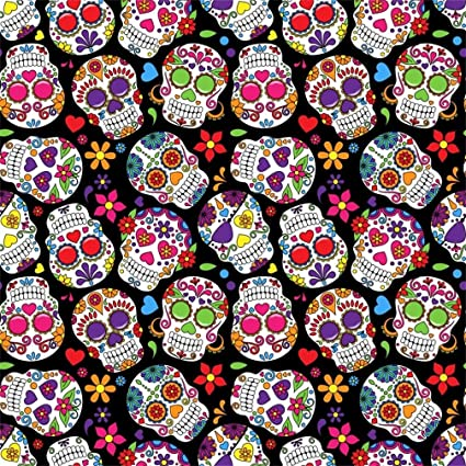 AOFOTO 5x5ft Abstract Skulls With Colorful Flowers Background The Dead Fantasy Cartoon Head Skeleton Cranium Pattern