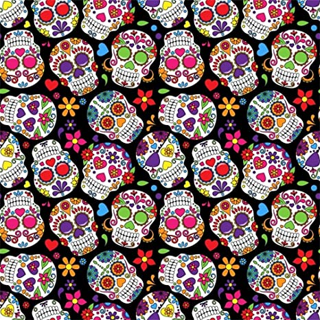 AOFOTO 6x6ft Abstract Skulls With Colorful Flowers Background The Dead Fantasy Cartoon Head Skeleton Cranium Pattern