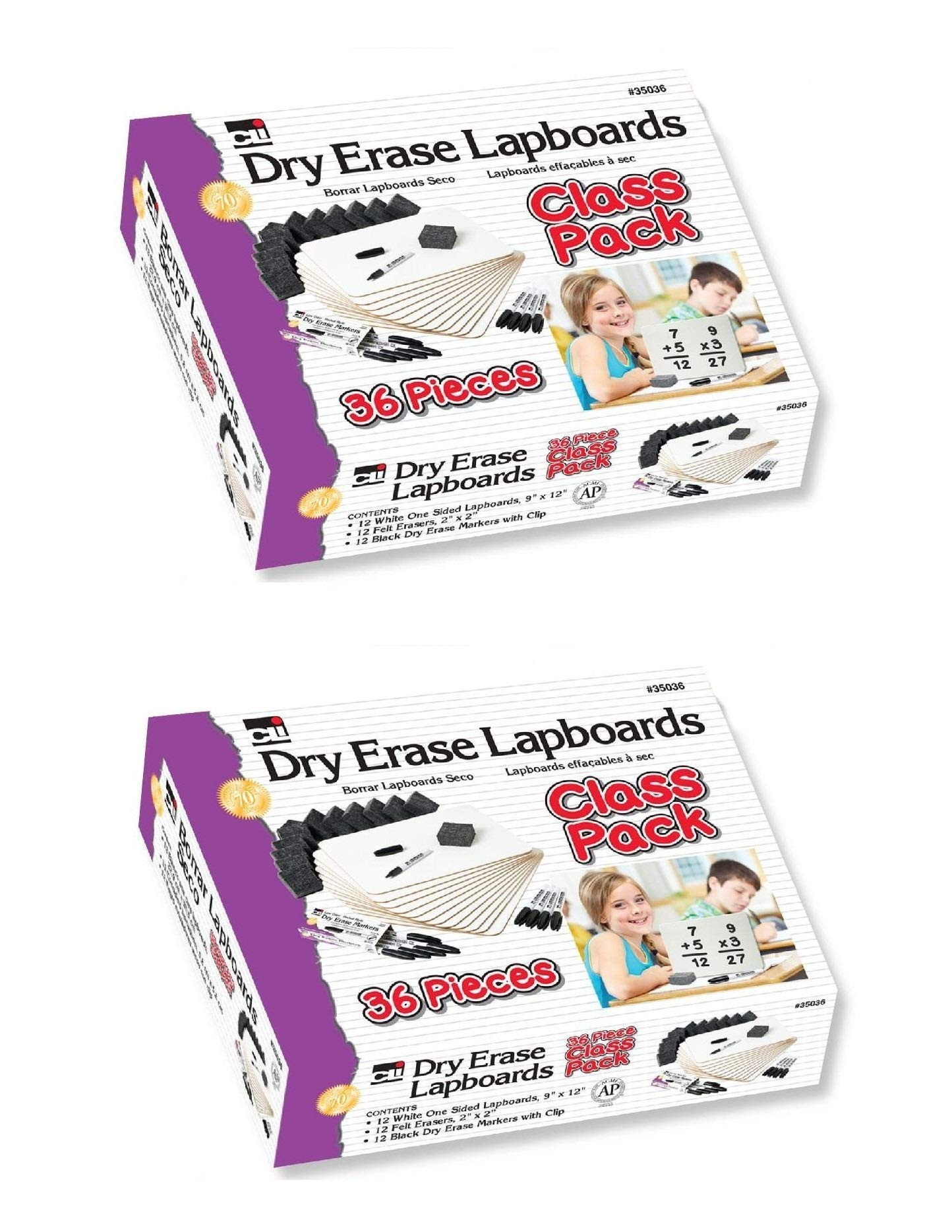 Charles Leonard Dry Erase Lapboard Class Pack, Includes 12 each of Whiteboards, 2 Inch Felt Erasers and Black Dry Erase Markers, Sold As 2 Kits (35036)