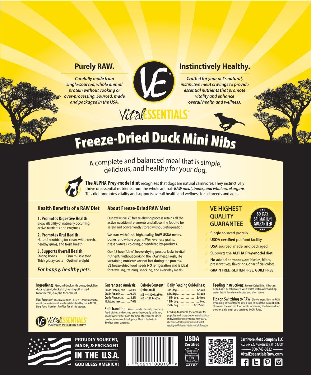 Vital Essentials Freeze-Dried Duck Mini Nibs Grain Free Limited Ingredient Dog Entrée, 1 Pound Bag by Vital Essentials (Image #2)