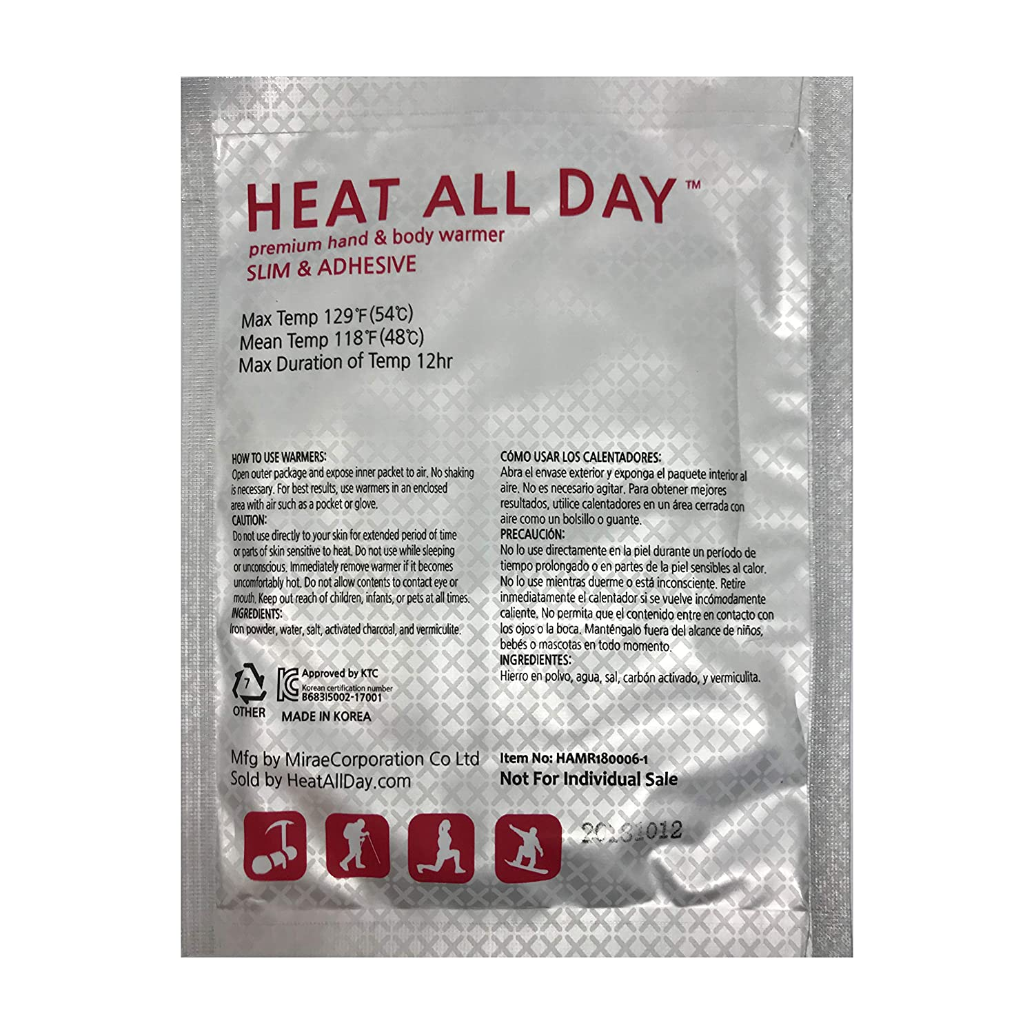 Amazon.com: Heat All Day Hand Warmers - Lasts 12 Hours at Max Temp 129F - Adhesive Slim Pack of 30 - Safe & Odorless (Air Activated): Sports & Outdoors