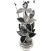 Flourish Negro y Blanco Flores Artificiales con Plata–Jarrón