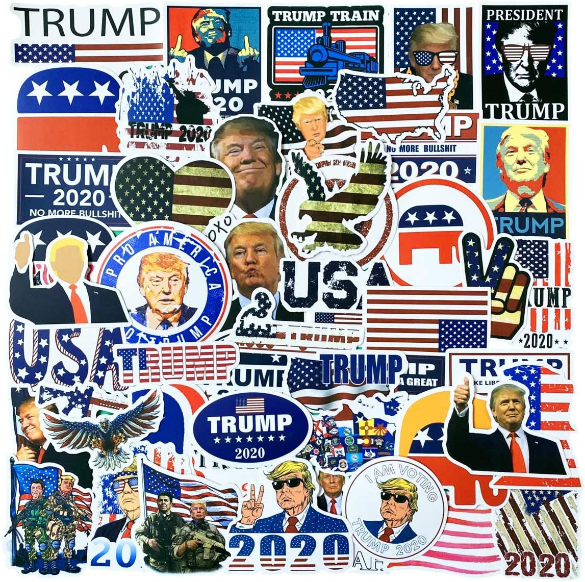 50pcs Trump Stickers, Funny Cartoon Comic Style Trump Vinyl Decals for Laptop, Car, Water Bottle, Bike. Trump