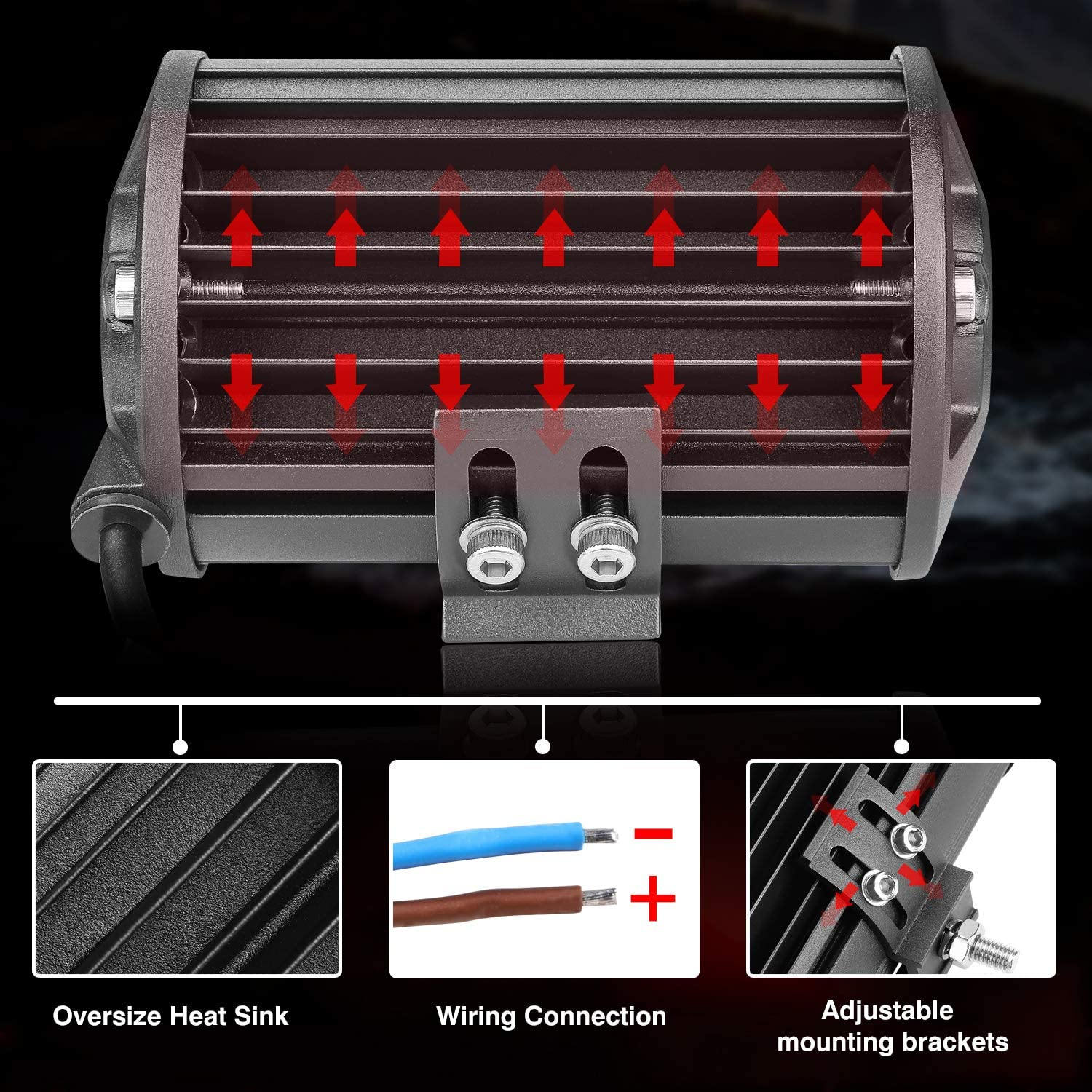 Amber Light Bar Teochew-LED 2Pcs 140W 5 Inch Amber Fog Lights Off Road Driving Lights Yellow Work Lights for Truck Jeep Tractor Car SUV ATV RZR Boat