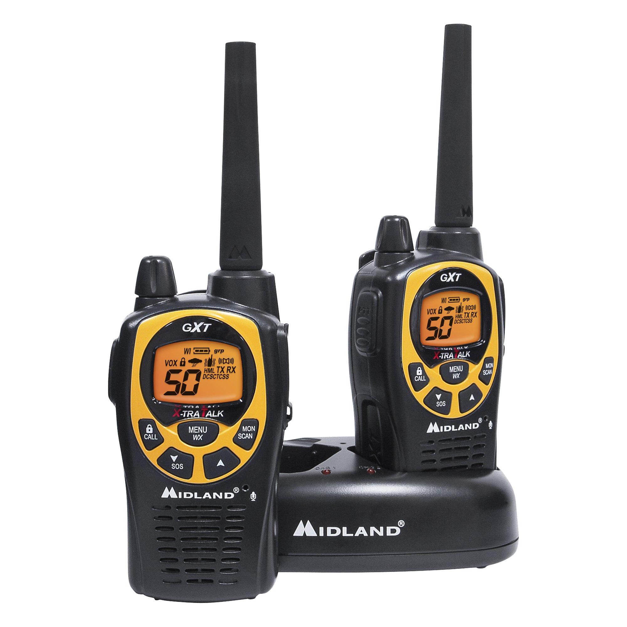 Midland - GXT1030VP4, 50 Channel GMRS Two-Way Radio - Up to 36 Mile Range Walkie Talkie, 142 Privacy Codes, Waterproof, NOAA Weather Scan + Alert (Pair Pack) (Black/Yellow) by Midland (Image #2)