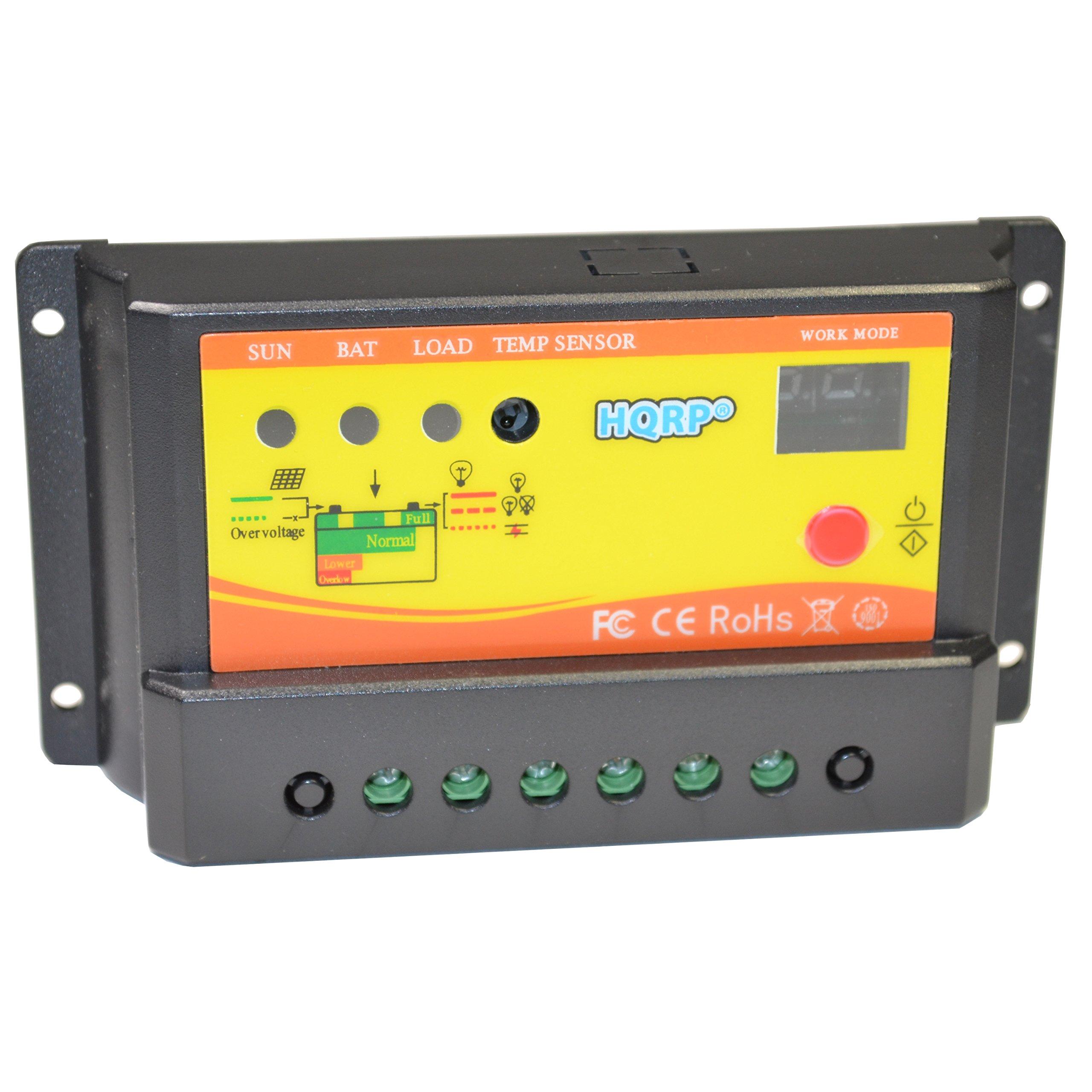 HQRP Solar 10A Charge Power Controller/Regulator 12V / 24V 10 Amp with LED Indicator plus UV Meter