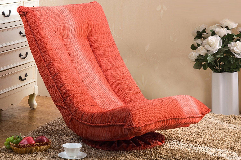 Merax 360 Degree Swivel Folded Video Game Chair Floor Lazy Man Sofa Chair (Orange Red)