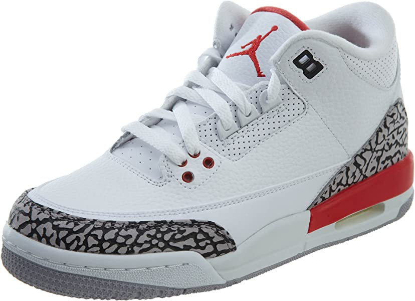 newest collection 7841c 9ffd0 NIKE Air Jordan 3 Retro Big Boy s Shoes White Fire Red Cement Grey 398614
