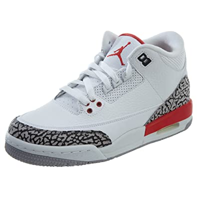 35c3cf39e41 Image Unavailable. Image not available for. Color  Nike Air Jordan 3 Retro  Big Boy s Shoes White Fire Red Cement Grey 398614