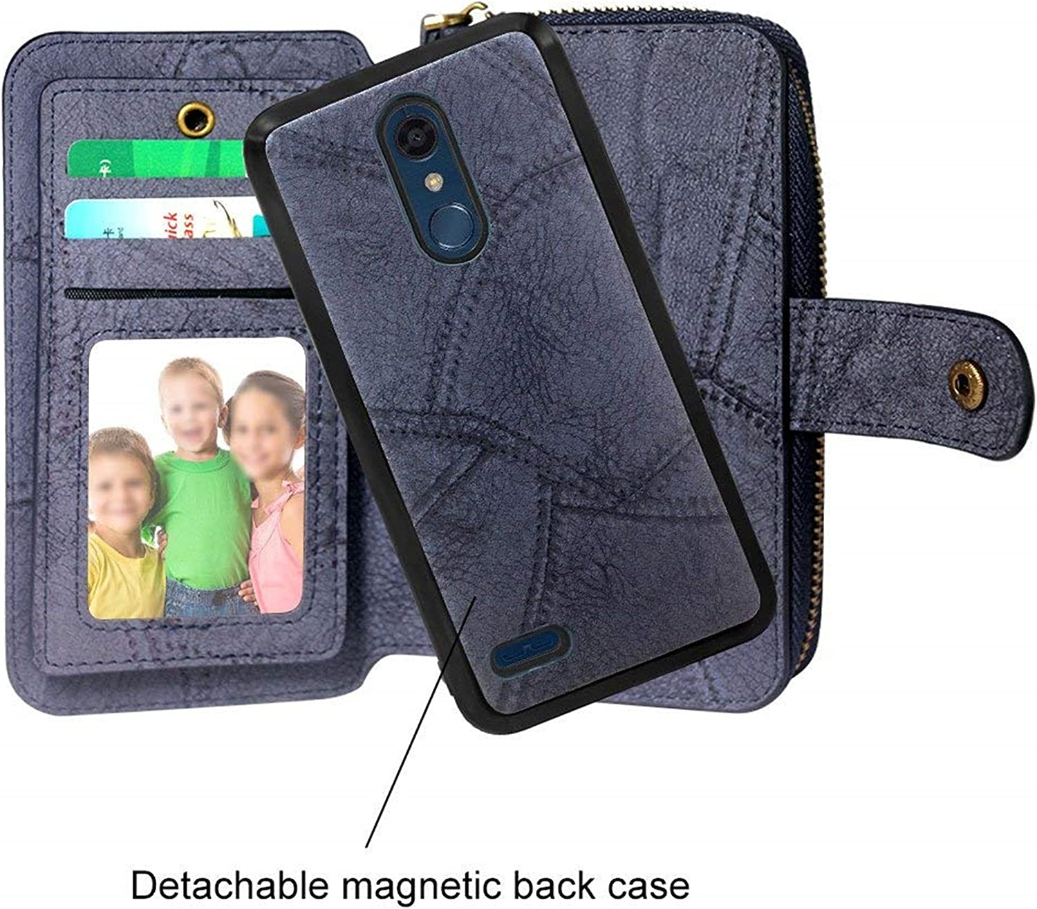 Spritech LG Stylo 4 Case,LG Q Stylus Case,Luxury Shockproof PU Leather Zipper Wallet Flip with Card Slots Wrist Strap Magnetic Detachable Back Cover for LG Stylo 4 2018//LG Q Stylus