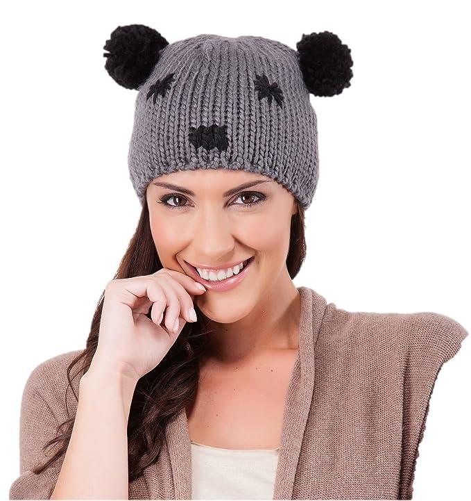 e007685bd1d ladies beanie hat panda face pom pom ears cream brown ski hat bobble hat   Amazon.co.uk  Clothing