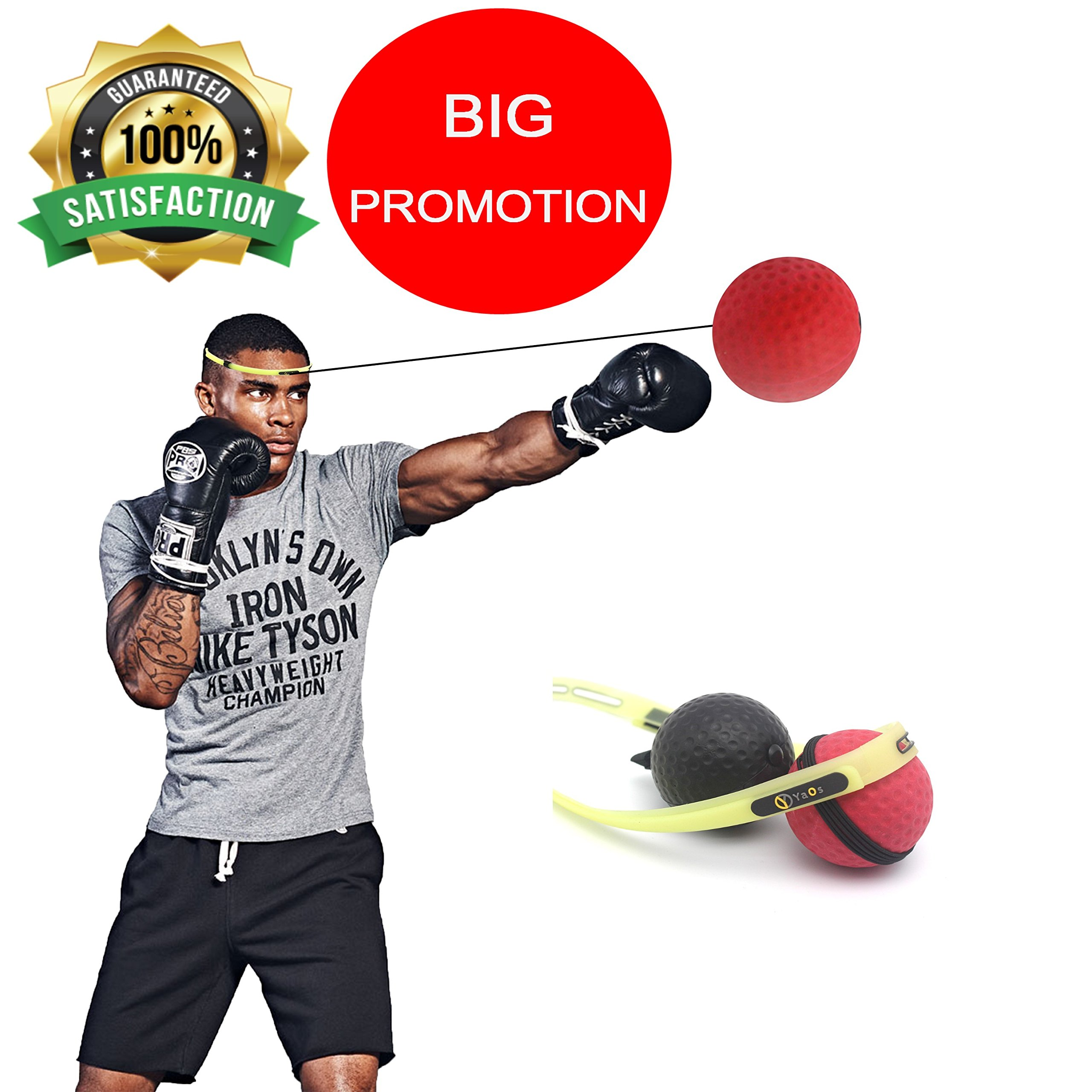 YAOS Boxing Reflex Ball, Light, Soft, High, Unique Improved Headband Technology, 2 Balls, 2 Level Difficulty, Perfect Fitness, Cardio Training Used Professional MMA, UFC Boxing Fighters
