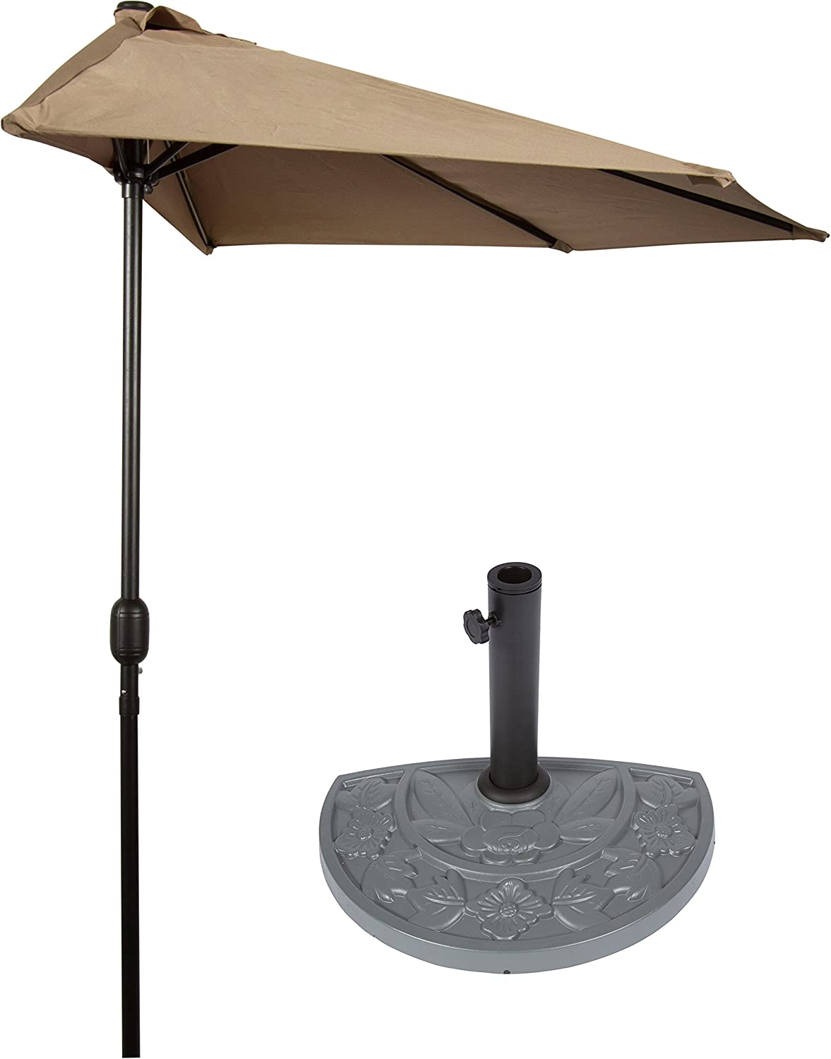 Trademark Innovations 9 Patio Half Umbrella with Gray Floral Half-Base Tan