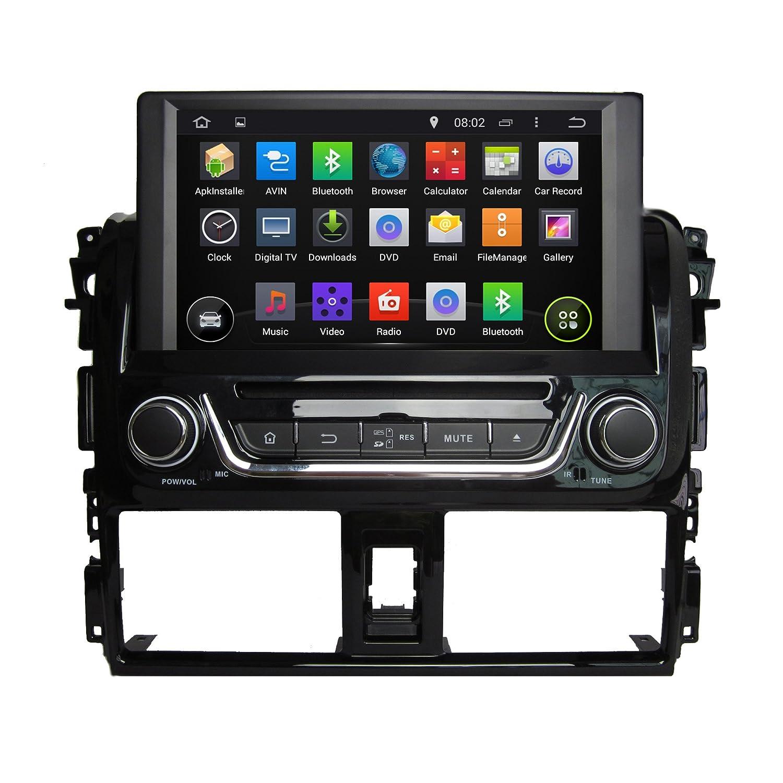 8 Inch Quad Core 1024 * 600 Android 5.1 Coche Reproductor de DVD GPS navegación Multimedia estéreo de Coche para Toyota Yaris 2014 Radio Control de Volante ...