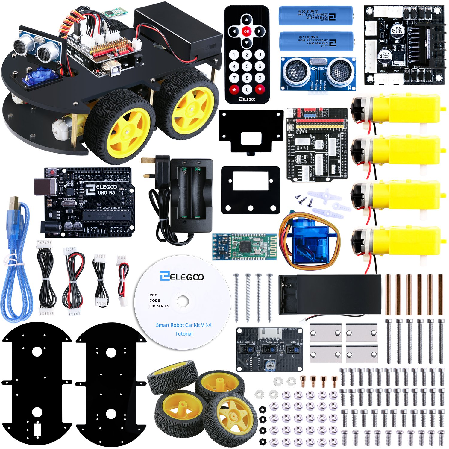 Elegoo UNO Project Smart Robot Car Kit V 3 0 with UNO R3 Line