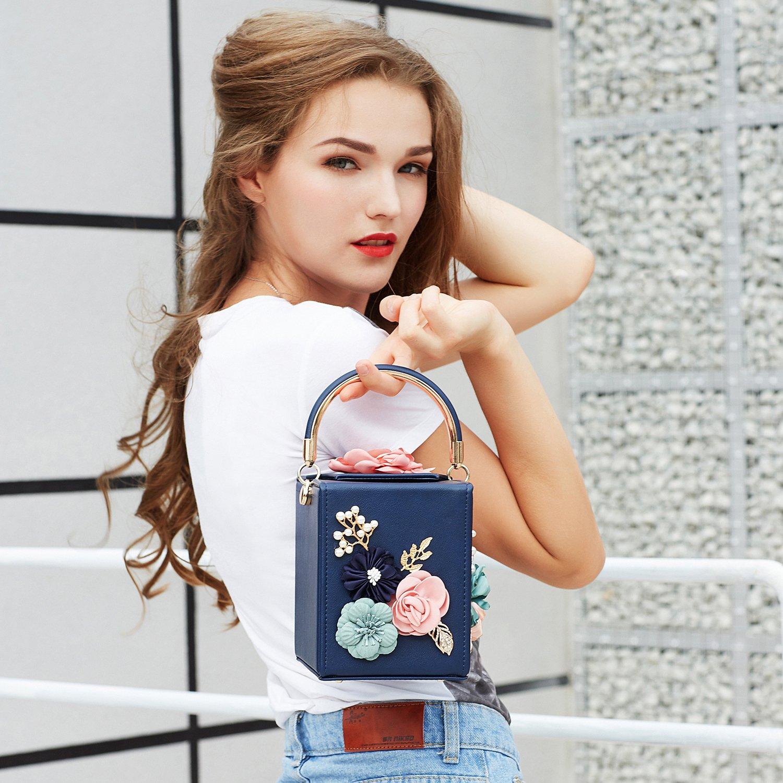 c5777d6b224b Milisente Women Clutches Flower Clutch Bag Box Clutch Purse Evening Handbag  (Black)  Amazon.co.uk  Shoes   Bags
