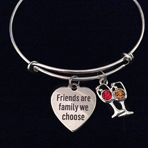 bb49a3557abf9 Amazon.com: Friends are Family We Choose Silver Expandable Charm ...