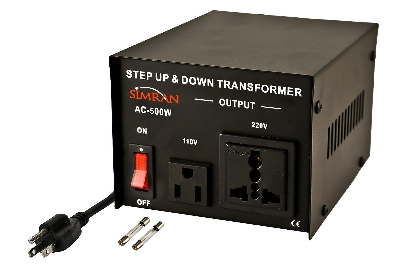 Simran AC-500 Voltage Power Converter Step up Down Transformer 110 Volt 220 Volt, 500 Watt, Black