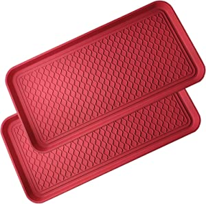 2 Pack All-Purpose Boot Tray Indoor Outdoor Washable Mat for Shoes, Boots, Plants, Mud, Pet Food Bowls, Gardening, Laundry, Kitchen, Garage, Car Storage, Entryway, 30