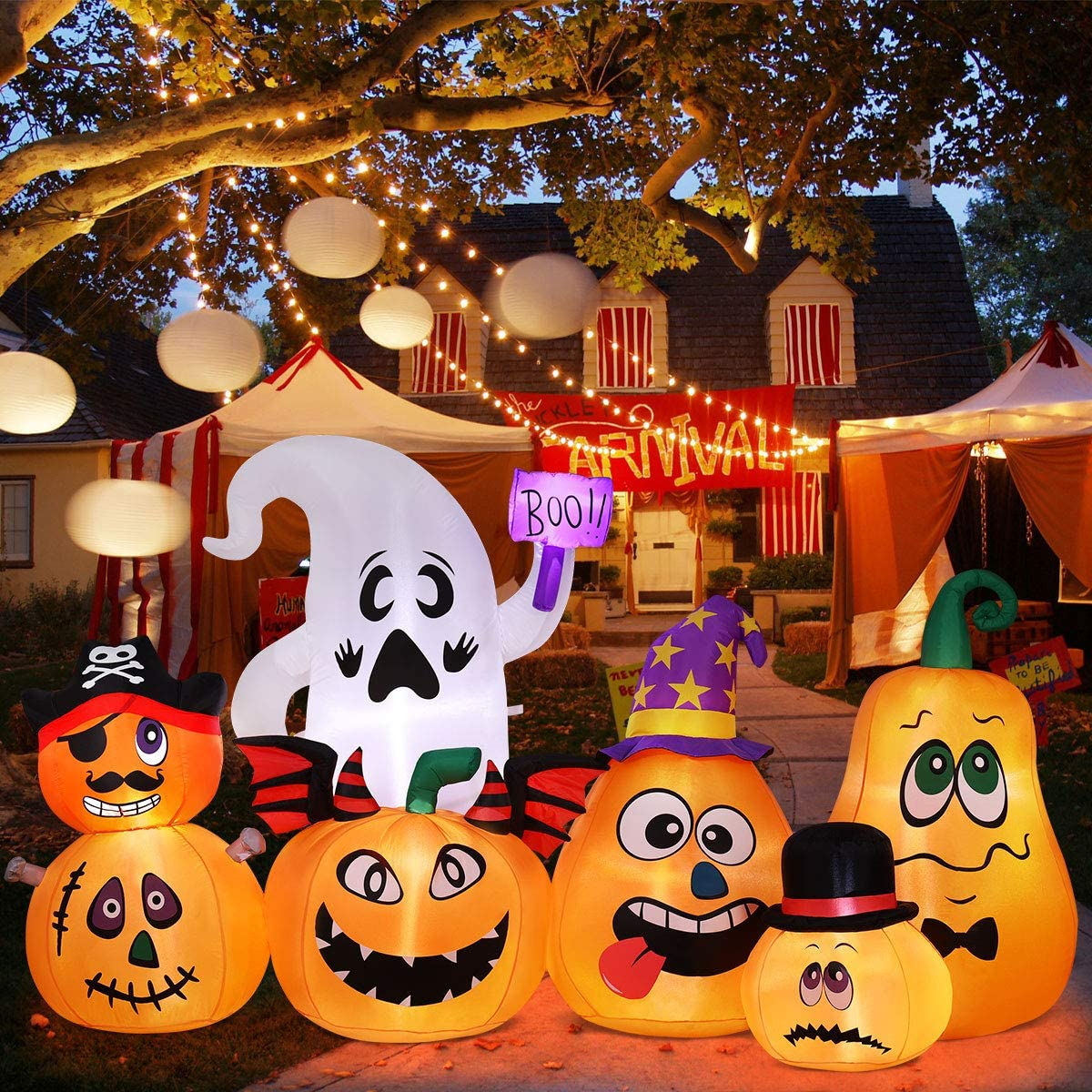 Halloween Inflatables Halloween Blow Up Pumpkin Ghost Decorations for Halloween Outdoor Yard Lawn Decorations