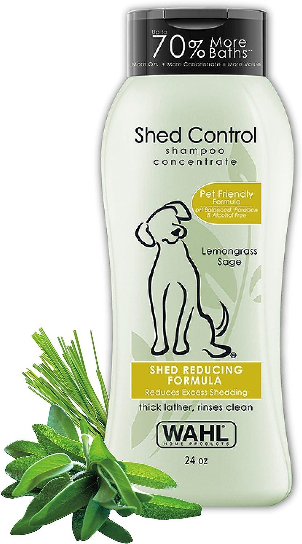 Wahl Shed Control Pet Shampoo for Animal Shedding & Dander – Lemongrass, Sage, Oatmeal, & Aloe for Healthy Coats & Skin – 24 oz