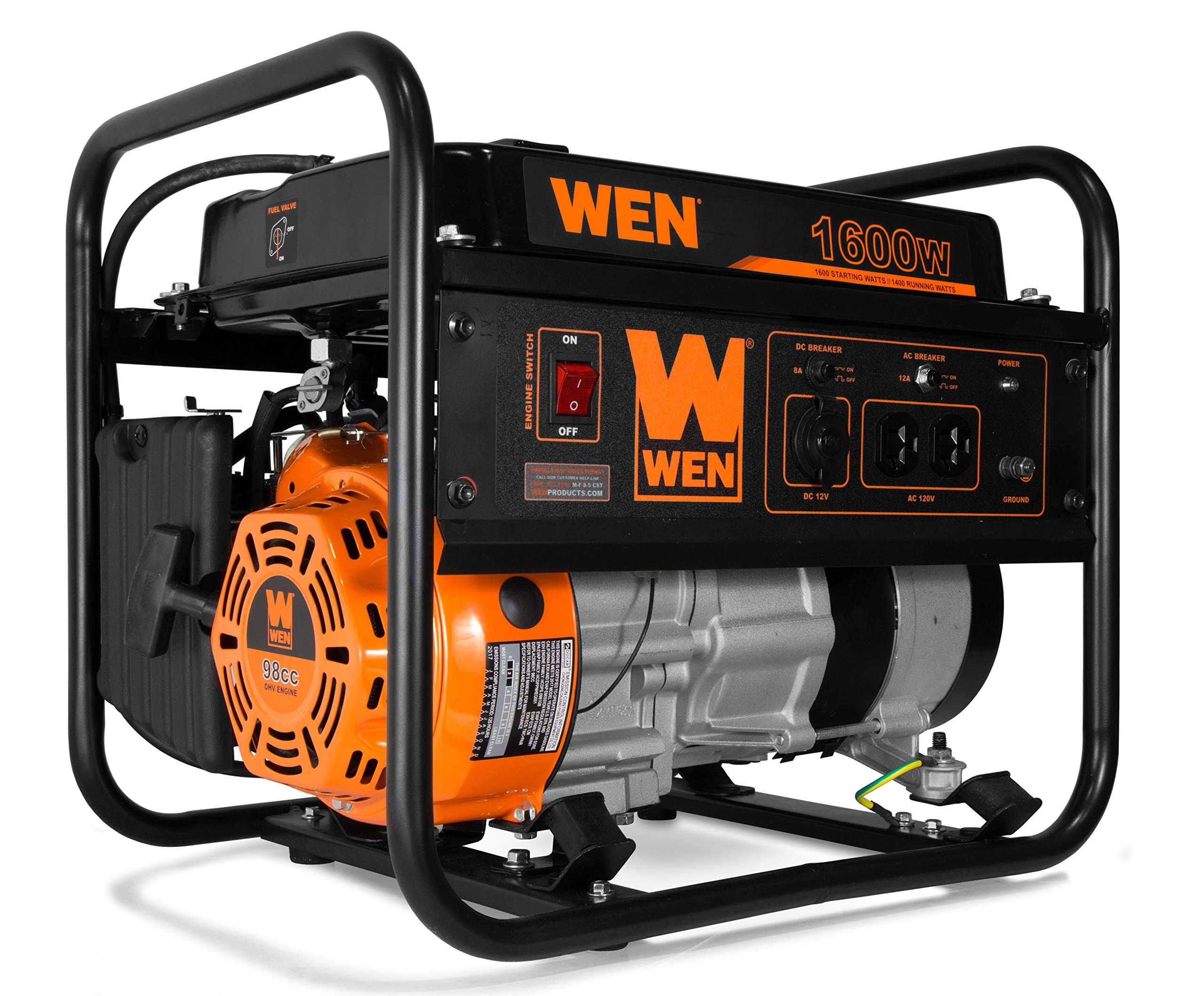 WEN 56160 4-Stroke 98cc 1600-Watt Portable Power Generator, CARB Compliant